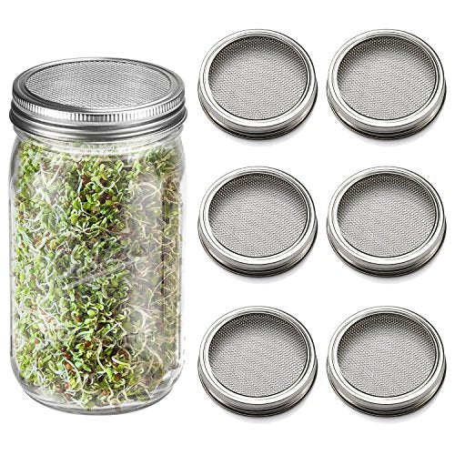 SPROUTS KIT STAINLESS STEEL SPROUTING JAR LIDS FOR WIDE MOUTH CANNING JARS