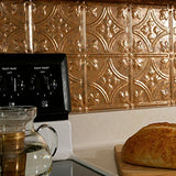 Fasde Easy Installation Traditional 1 Cracked Copper Backsplash Panel For Kitchen And Bathrooms (18  X 24  Panel)