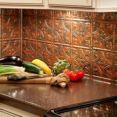 Fasde Easy Installation Traditional 1 Copper Fantasy Backsplash Panel For Kitchen And Bathrooms (18  X 24  Panel)