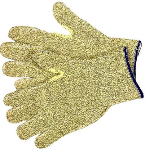 Mcr Safety 9435Kms Kevlar Terrycloth Cotton Regular Weight Gloves With Continuous Knit Wrist And Reinforced Thumb Crotch, Yellow/Brown, Small, 1-Pair