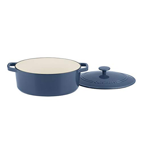 Cuisinart Ci755-30Bg Cast Iron Casserole, 5.5 Qt Oval Covered, Enameled Provencial Blue