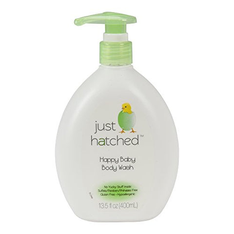 Just Hatched Happy Baby Body Wash, Moisturizing, Huggable Yummy Fragrance, Gentle For Newborns, For Sensitive Skin, Hypoallergenic, Gluten Free, 13.5 Fl Oz