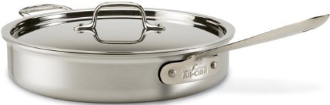 All-Clad 7403 Mc2 Professional Master Chef 2 Stainless Steel Bi-Ply Bonded Oven Safe Pfoa Free Saute Pan With Lid Cookware, 3-Quart, Silver