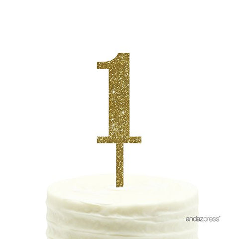 Andaz Press Birthday And Anniversary Acrylic Cake Toppers, Gold Glitter, Number 1, 1-Pack, Twins 1St First Birthday