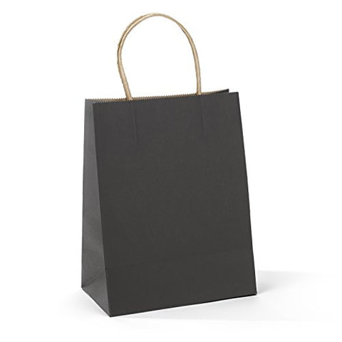Gssusa 50 Pcs 8 X4.75 X10.5  Kraft Paper Handle Shopping Gift Merchandise Carry Retail Bags (Black)