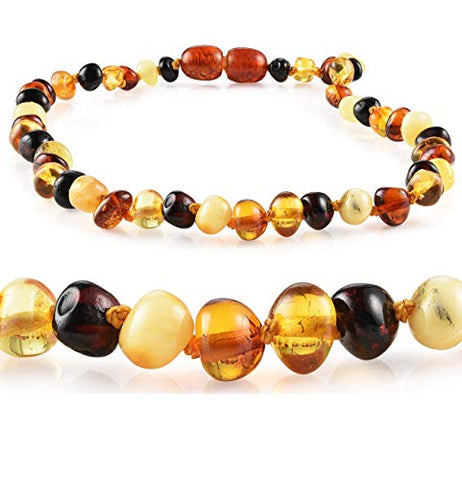 Premium Grade Amber Teething Necklace - Hand Crafted Baltic Amber Necklace In 3 Sizes - Teething Relief For Baby, Toddler, And Child! (14-15 Inches, Multi)