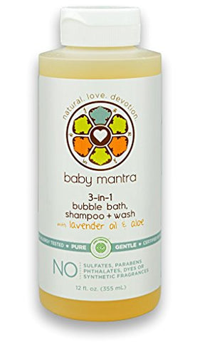 Baby Mantra 3-In-1 Bubble Bath, Shampoo And Body Wash Made With Natural, Hypoallergenic, &Amp; Ewg Verified Ingredients For Infants, Toddlers, And Kids With Sensitive Skin, 12 Fluid Ounces
