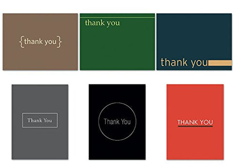 Contemporary Thank You Notecard Set - 36 Note Cards - 6 Designs - Blank Cards - Off-White Ivory Envelopes Included