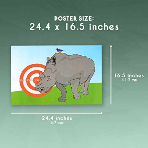 Best Paper Greetings Children Party Games - Pin The Horn On The Rhino,  Birthday Party Games, Kids Activities, Includes 2 Posters, 10 Horn Stickers  1