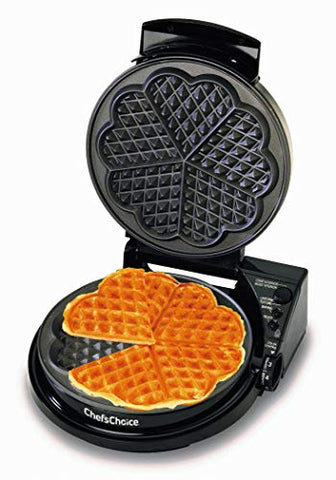 Chefschoice Wafflepro 830 Traditional Five-Of-Hearts Waffle Maker With Taste Texture Select Quad Baking Instant Temperature Recovery Fast Bake Easy To Clean With Overflow Channel, Waffle Iron, Black