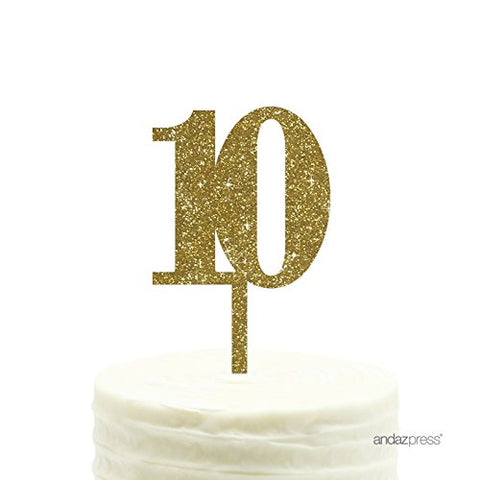 Andaz Press 10Th Birthday And Anniversary Acrylic Cake Toppers, Gold Glitter, Number 10,
