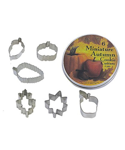 R&Amp;M International 1991 Mini Autumn Leaf Cookie Cutters, Acorn, Pumpkin, Oak, Maple, Aspen, Apple, 6-Piece Set In Gift Tin