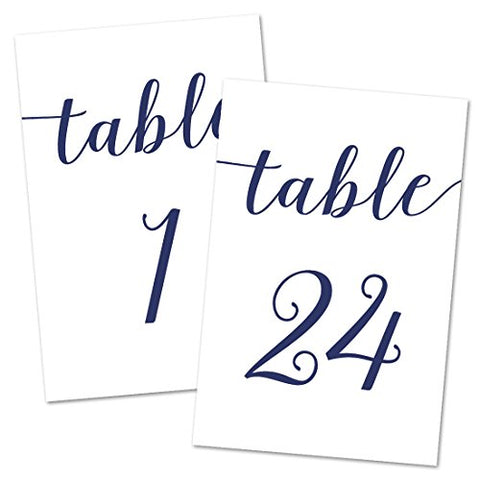 4X6 Table Number Cards 1-24 (Navy)