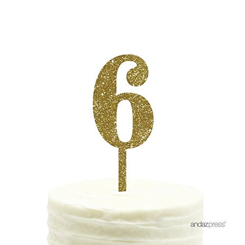 Andaz Press 6Th Birthday And Anniversary Acrylic Cake Toppers, Gold Glitter, Number 6,
