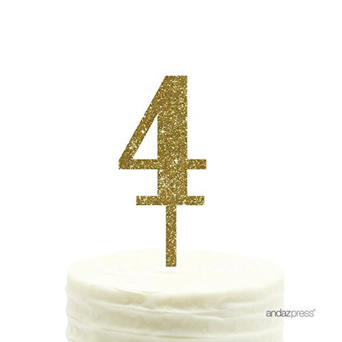 Andaz Press 4Th Birthday And Anniversary Acrylic Cake Toppers, Gold Glitter, Number 4,