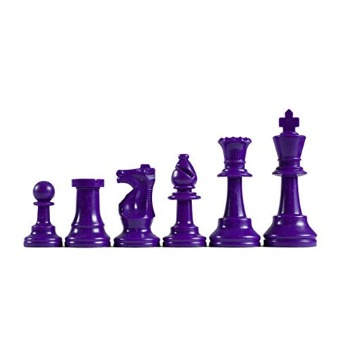 We Games Color-Bright Staunton Tournament Chess Pieces - Plastic With 3.75 Inch King - Half Set Chessmen Are Purple
