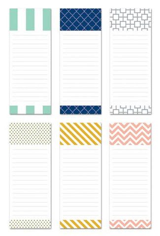 6 Magnetic Notepads - Modern Design Series - 6 Different Designs On 3.5  X 9  Pads