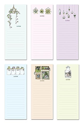 6 Magnetic Notepads - Sweet Succulents Series - 6 Different Designs On 3.5  X 9  Pads