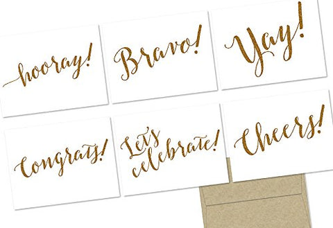 Glitzy Congrats! - 36 Note Cards - 6 Designs - Blank Cards - Kraft Envelopes Included