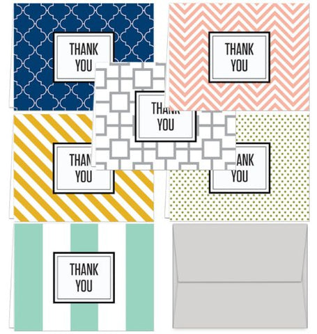 Modern Thank You - 36 Thank You Cards - 6 Designs - Blank Cards - Gray Envelopes Included