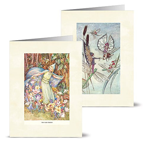 Vintage Fairies - 36 Note Cards - 12 Designs - Blank Cards - Off-White Ivory Envelopes Included