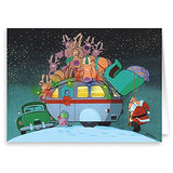 Camper And Santa Christmas Card - 18 Cards &Amp; Envelopes