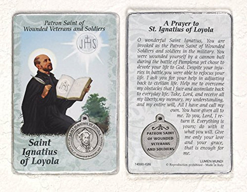 Saint Ignatius Of Loyola, Patron Saint Of Wounded Veterans And Soldiers, Prayer Card And Medal