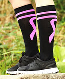 Mojo Compression Socks Special Edition Breast Cancer Ribbon - Firm Graduated Medical Compression With Moisture Wicking Coolmax Material Knee High - Black Small