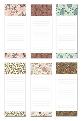 6 Magnetic Notepads - Floral Frenzy Design Series - 6 Different Designs On 3.5  X 9  Pads