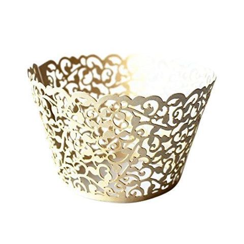 Gospire 50 Pcs Pearl Lace Filigree Wedding Cupcake Wrapper Baking Cake Cups Wraps Party Decoration Laser Cut Titanium White