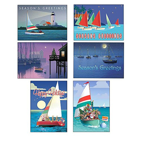 Sail Boat Christmas Card Variety Pack - 24 Cards &Amp; Envelopes