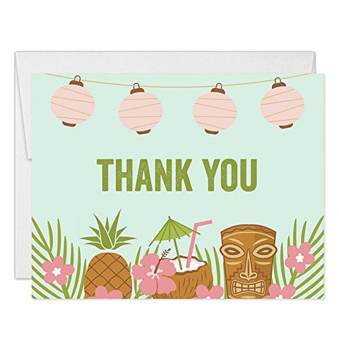 Luau Tropical Theme Thank You Cards With Envelopes ( ) Folded Blank Island Palm Tiki Party Thank You Notes Graduation 30Th Birthday Retirement Gift Thanks Notecards Excellent Value Vt0021