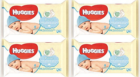 Huggies Pure Baby Wipes 56 Count  224 Wipes Total