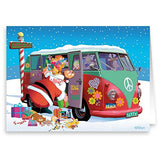 Santa Goes Retro - 18 Cards &Amp; Envelopes - Santa'S Peace 1960'S Peace Bus
