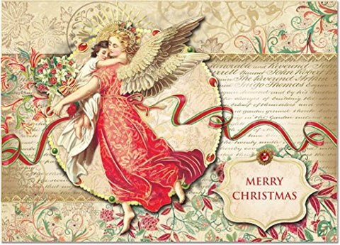 Punch Studio Florentine Angel Dimensional Holiday Greeting Cards - Set Of 12 (50336)