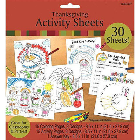 Thanksgiving Assorted Coloring Activity Sheets, 30 Ct. | Party Accessory