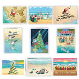 Ultimate Beach Christmas Card Variety Pack - 36 Beach Cards &Amp; Envelopes - 18 Different Beach Designs