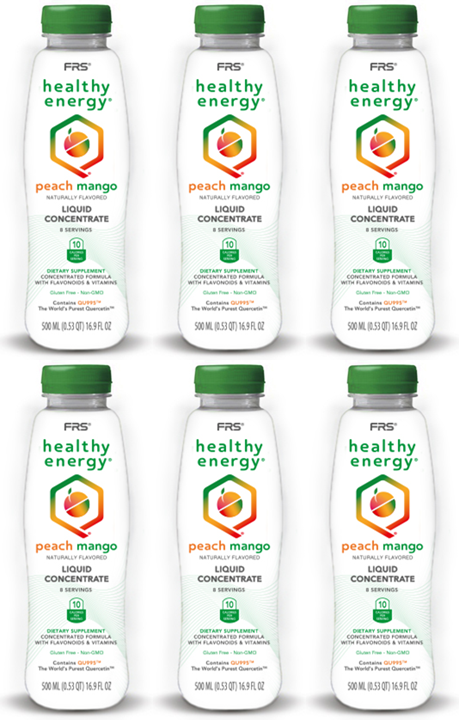 FRS Healthy Energy Peach Mango Concentrate/ Case of Six 16.9 oz Bottles