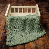 Littolo layer Hand spun marino wool knit layer blanket-New born photography prop layer-Chunky thin layer (Sea foam)