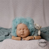 Littolo Knitted Newborn hat and wrap-Crochet Mohair Bonnet,Wrap and Teddy-Baby Photography props wrap(Turkish Blue)
