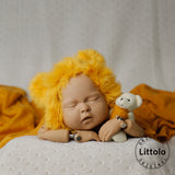 Littolo Knitted Newborn hat and wrap-Crochet Mohair Bonnet,Wrap and Teddy-Baby Photography props wrap(Fire)