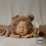 Littolo Knitted Newborn hat and wrap-Crochet Mohair Bonnet,Wrap and Teddy-Baby Photography props wrap(Caramal)
