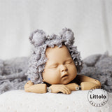 Littolo New Born Popcorn Strectch Wrap and Bonnait-Popcorn knit- Texture Wrap-photo prop-white dot new born wrap(Grey)