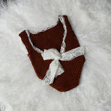 Littolo Crochet Costume For Newborn Props- Knitted Clothes Rompors For Photography Props(Chocolate Brown)