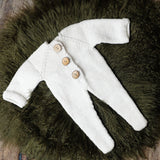 Littolo Newborn Suspander Manual Knitted Rompors-Newborn Clothes Photography Props (White)