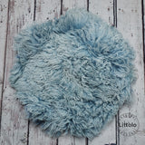 Round wool blanket, stuffer curly felt, newborn studio photography props (60CM )  Airforce