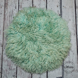Round wool blanket, stuffer curly felt, newborn studio photography props (60CM ) Sage Green