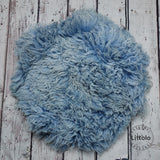 Round wool blanket, stuffer curly felt, newborn studio photography props (60CM )  cornflower