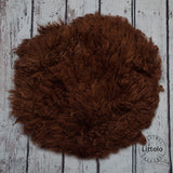 Round wool blanket, stuffer curly felt, newborn studio photography props (60CM ) Hickory