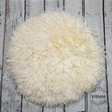 Round wool blanket, stuffer curly felt, newborn studio photography props (60CM )  Offwhite
